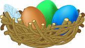 three colored eggs lie in a nest Easter illustration
