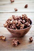 picture of mixture  - Chocolate pop corn in small brown bowl - JPG