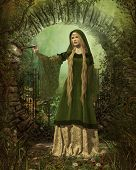 stock photo of medieval  - a fairy with a magic wand in a medieval garb - JPG