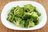 Closeup Photo Of Plate With Broccoli And Beans