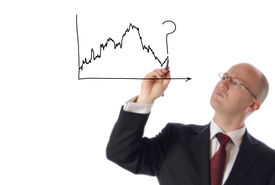 picture of nyse  - businessman drawing on copy space of stock market chart isolated on white - JPG