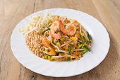 picture of rice noodles  - Pad Thai Koong dish of stir fried rice noodles - JPG