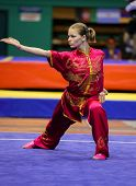 KUALA LUMPUR - NOV 03: Temna Liudmyla of Ukraine shows her fighting style in the 'changquan compulso