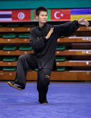 KUALA LUMPUR - NOV 03: Loh Jack Chang of Malaysia shows his fighting style in the 'Taiji quan' event