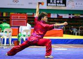 KUALA LUMPUR - NOV 03: Wu Nok In of Macau shows his fighting style in the 'changquan compulsory' eve