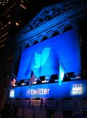 NEW YORK - NOVEMBER 7: The Twitter logo is shown in front of the NYSE on evening of its IPO on Novem