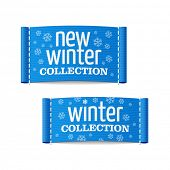 New winter collection clothing labels. Vector.