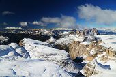 Winter landscape in the Dolomites seen from Piz Boe, Italy, Europe