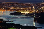 image of inlet  - A high angle night view of Burrard Inlet and the Vancouver cityscape - JPG