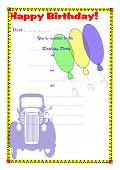 Children's Birthday Party Invitation - Boys Transport Theme