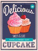 vector vintage styled cupcakes poster