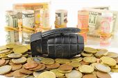 stock photo of grenades  - Money for War Concept Hand Grenade and Money - JPG