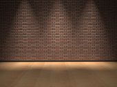 Concept or conceptual retro wood, wooden floor and old brick wall with spot lights vintage backgroun