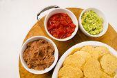Chips Salsa Refried Beans Guacamole Nachos Food Fresh Appetizer