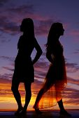 Silhouette Two Women Stand Back To Back