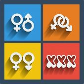 stock photo of vagina  - Set of 4 vector web and mobile gender icons in flat design - JPG