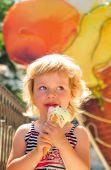 Girl Enjoys An Ice-cream