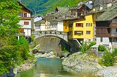 picture of italian alps  - View of the Medieval City of Rassa in Italian Alps - JPG