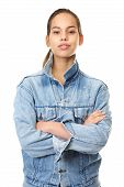 Portrait Of A Beautiful Young Woman In Denim Jacket