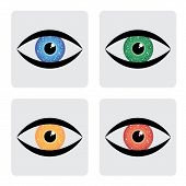 Red, Yellow, Blue Green Human Eye Icons With Circuit In Iris