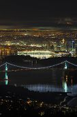 stock photo of inlet  - A high angle night view of Burrard Inlet and the Vancouver cityscape - JPG