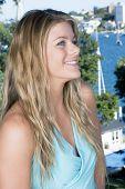Blond Portrait In Blue Dress poster