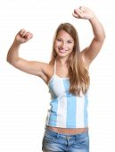 Cheering female argentinian football fan