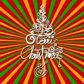 illustration of Merry Christmas swirly tree on retro background