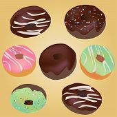 Chocolate Donuts. Vector Doughnuts with Claze