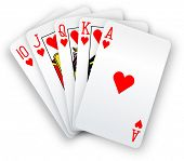 Royal straight flush playing cards poker hand in hearts