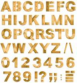 Golden or brass metal alphabet letters, digits and punctuation marks. Font isolated on white.