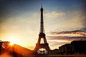 Eiffel Tower seen from Champ de Mars at sunset, Paris, France