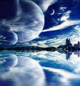 Collage - landscape in fantasy planet