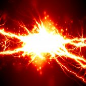 stock photo of thunder-storm  - bright electrical spark on a dark red background - JPG