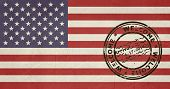 Welcome to United States of America flag with passport stamp