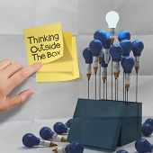 Thinking Outside The Box On Sticky Note And Pencil Lightbilb As Creative On Crumpled Paper
