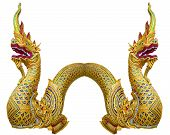 Pair Golden King Of Naga On White Background