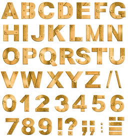 foto of punctuation marks  - Golden or brass metal alphabet letters - JPG