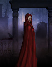 pic of little red riding hood  - Little red riding hood in Gothic creepy cemetery - JPG