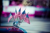 Traditional Usa Parade Old Car With Flags