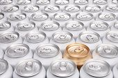 Aluminum Beverage Cans With One Gold Can