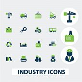 industry, business icons set, vector