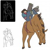 An image of a cowboy riding a bucking horse.