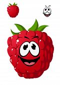 Cartoon ripe red raspberry with a cheeky grin