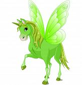Green cute winged horse of fairy tale. Raster version.