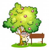 Illustration of a monkey under the tree beside the empty wooden signboard on a white background