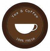 Illustration of a label for the fresh tea and coffee on a white background