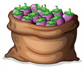 Illustration of a sack of eggplants on a white background