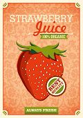 Vintage strawberry juice poster. Vector illustration.
