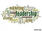 Vector eps concept or conceptual abstract leadership and business word cloud or wordcloud isolated o